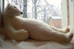 I just want to hug this guy. . . . . . . . .Big white wool polar bear    45 cm  Handmade needle by BinneBear