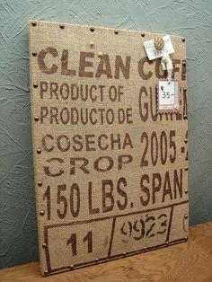 Vintage Burlap Coffee Feed Sack Memo Cork Board by CURIOSITYNC, $35.00