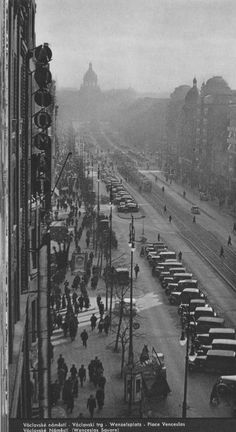 Prague, Wenceslas Square by unknown author, Old Pictures, Old Photos, Vintage Photos, Prague Czech Republic, Heart Of Europe, Fantasy City, World View, Old Postcards, Wonders Of The World
