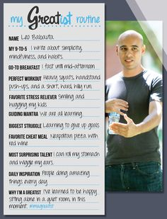 My Greatist Routine -  Leo Babauta