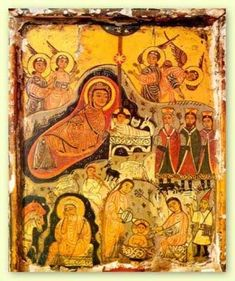 The Nativity, an  encaustic folk art painting from the 7th century- A icon from the Monastery of St. Catherine in the Sinai of Egypt