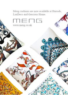 MENG's cushions are displayed at world renowned department store Harrods, in the Fabric Library From October 2014, Meng's exclusive homeware…