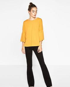 T-SHIRT WITH RUFFLE SLEEVES-NEW IN-TRF | ZARA United States