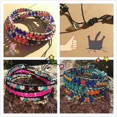 Bracelets Wrap 3 rangs. Fermoir coulissant ou à votre taille. en perles de verre, bois, métal... à peu près un million de couleurs dispos !   Là : rose fuchsia, bleu roi, bois, transparent, mint, rose pâle, grenat, rose fluo, turquoise, orange doré... Et autant de couleurs de cordons en cuir différents ! #octopop #bijoux #wrap #bracelet #corsica #handmade #cuir