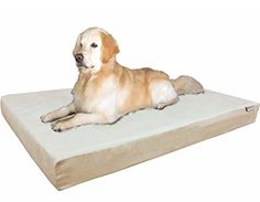Dogbed4less Orthopedic Gel Infused Cooling Memory Foam Dog Bed for Large Dog Waterproof Liner and Durable Pet Bed Cover XXL 55X37X4 Inch Microsuede in Khaki * Click image for more details. (This is an affiliate link) #BedPillows