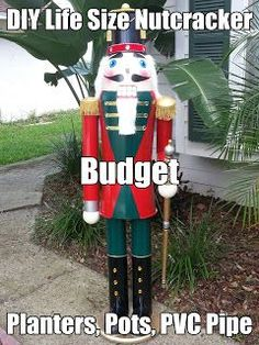 DIY Lifesize Nutcracker on a budget, Pots, Planters and PVC.: My step by step DIY Life Sized nutcracker How To: . Christmas Design, Christmas Projects, Winter Christmas, Christmas Holidays, Christmas Ornaments, Christmas Christmas, Christmas Ideas, Best Outdoor Christmas Decorations, Nutcracker Christmas Decorations