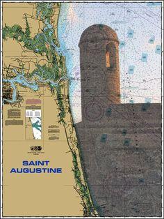 St. Augustine Fort Nautical Chart Sailcloth Print