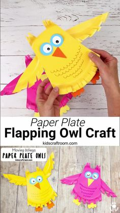This Flying Paper Plate Owl Craft is so fun! The owls' wings are hinged so they can be moved up and down to make the owl fly. This paper plate craft is super easy to make and each owl uses just one plate. A fun kids craft for Fall or all year round that they can play with too. What a hoot! #kidscraftroom #owlcrafts #owls #paperplatecrafts #kidscrafts #Fallcrafts #autumncrafts Halloween Crafts For Toddlers, Halloween Crafts For Kids, Toddler Crafts, Diy Crafts For Kids, Fun Craft, Craft Activities For Kids, Preschool Crafts, Spanish Activities, Craft Kids