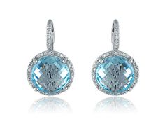 Blue Topaz And Diamond Earrings in White Gold Sapphire And Diamond Earrings, Blue Topaz Stone, Jewelry Collection, Hair Beauty, White Gold, Bling, Gemstones, Metal, Accessories