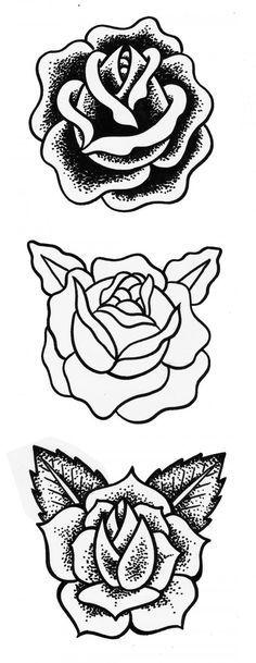 """Résultat de recherche d'images pour """"rose old school tatouage noir"""""""