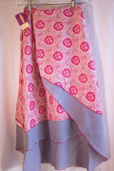 HOPE 3/4 WRAP SKIRT Tiered Tie Sarong MULTI-COLOR Cotton Gray Red Floral Sz M #Hope #WrapSarong