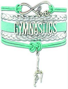 Love Gymnastics Bracelet - Teal/Silver