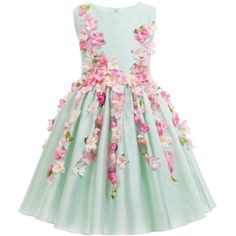 LESY SS 2016 - Lesy Green Cotton Sateen Dress with Pink Flowers at Childrensalon.com