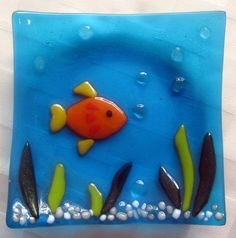 Fused Glass Plate, Underwater Ocean Soap Dish, Goldfish in Turquoise Water, Beach House Decor, Blue Sea Glass – Best Sea Food Sea Glass Crafts, Sea Glass Art, Stained Glass Art, Glass Beach, Fused Glass Plates, Fused Glass Ornaments, Glass Bowls, Snowman Ornaments, Broken Glass Art