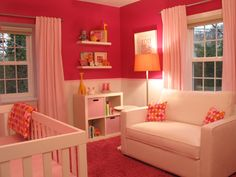 Orange paired with hot pink is a crisp and cheery color combo #nursery