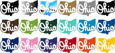 Ohio Script Outline Silhouette Decal Sticker | | Stickit! Stickers & Decals