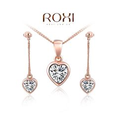 ROXI 18K Rose Gold Exquisite Fashion Solid True Love Heart Necklace Earring Jewelry set Pendant Earrings with Pendant Necklace and Ring For Women