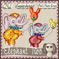 Elephant Two (FS-CU-TEMPLATE-PSP SCRIPT) [Pink] : Scrap and Tubes Store, Digital Scrapbooking Supplies