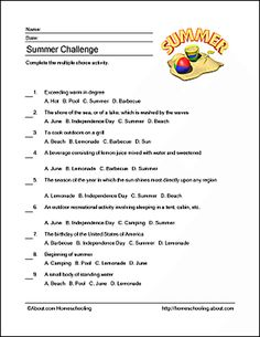Summer Wordsearch, Crossword Puzzle, and More: Summer Challenge
