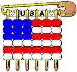 USA Pony Bead Flag Pin Kit. A great craft for Girl Scouts age 7 and up. Make to hand out at Memorial Day or Veteran's Day or any patriotic parade or event. Great for USA for World Thinking Day. Kit makes 60 SWAPs and is available at MakingFriends.com