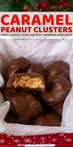 Caramel Peanut Clusters are the perfect chewy and crunchy candy with chocolate, caramels, heavy cream, vanilla, and salted peanuts. #dessert #peanuts #chocolate #caramel #peanutclusters #dinnerthendessert Candy Recipes, Dessert Recipes, Dinner Recipes, Desserts, Holiday Foods, Holiday Recipes, Peanut Clusters, Chocolate Caramels, Homemade Candies