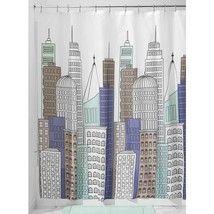 InterDesign Skyline Shower Curtain, Blue/Gray