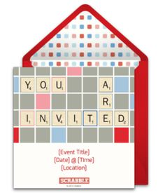 Tons of free invitations for Game Night. Love this free Scrabble party invitation in particular!