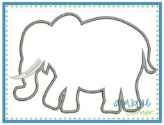 Elephant Silhouette Tusk Satin Applique Design