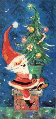 vintage Christmas card, retro santa