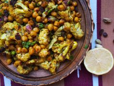 Curried Chickpeas and Roasted Cauliflower with Couscous or Quinoa