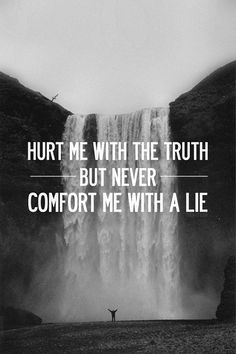 Hurt me with the truth, but never comfort me with a lie
