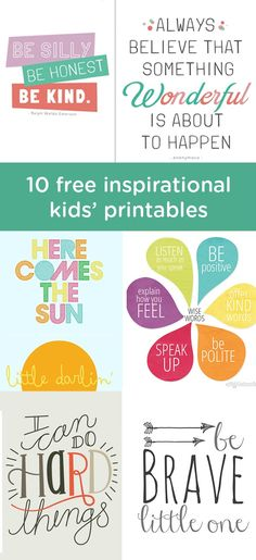 These 10 free printables are a fantastic way to add color and personality to your baby's nursery or child's bedroom. Simply frame your favorite one and hang near his or her crib or changing table for a lovely work of DIY wall art. Printables Organizational, Printable Art, Free Printables, Playroom Printables, Free Printable Quotes, Printable Frames, Printable Coloring, Video Motivation, Quotes Motivation