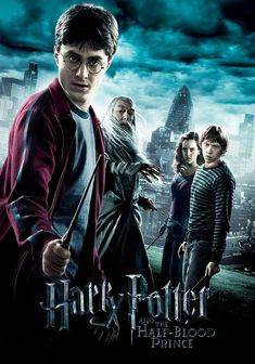 """As Harry Potter (Daniel Radcliffe) begins his sixth year at Hogwarts, he discovers an old book marked as """"the property of the Half-Blood Prince"""" and begins to learn more about Lord Voldemort's (Ralph Fiennes') dark past. Harry Potter 6, Harry Potter All Parts, Harry Potter Movie Characters, Harry Potter Movie Quotes, Harry Potter Half Blood, Harry Potter Poster, Daniel Radcliffe Movies, Image Fashion, Movie Covers"""