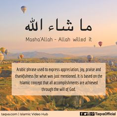 """Meaning of Mash'Allah. It is an #arabic phrase meaning """"#Allah willed it"""" - used…"""