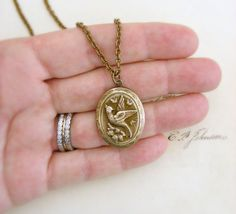 Locket Necklace  Vintage Brass Victorian by chloesvintagejewelry, $34.00