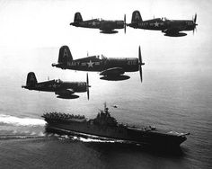 Korean War - HD-SN-99-03073 by Morning Calm News, via Flickr  F4U's (Corsairs) returning from a combat mission over North Korea circle the USS Boxer as they wait for planes in the next strike to be launched from her flight deck - a helicopter hovers above the ship. September 4, 1951. (Navy)  NARA FILE #: 080-G-433002  WAR & CONFLICT BOOK #: 1414