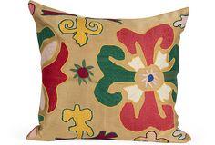 One Kings Lane - Cristi Ambroson, Tessera - Vintage Suzani Pillow, Beige I