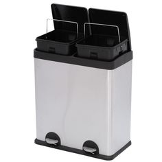 Step N' Sort 16 gal. 3 Compartment Stainless Steel Trash and Recycling - The Home Depot Indoor Recycling Bins, Trash And Recycling Bin, Trash Bins, Recycling Storage, Home Depot, Recycling Station, Trash Compactors, Waste Container, Corrugated Plastic