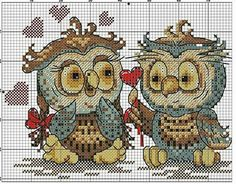A another cute cross stitch! Cross Stitch Alphabet Patterns, Cross Stitch Owl, Cross Stitch Animals, Cross Stitch Charts, Cross Stitch Designs, Cross Stitching, Cross Stitch Embroidery, Cross Stitch Gallery, Owl Sewing