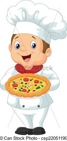 Vector - Chef holding pizza - stock illustration, royalty free illustrations, stock clip art icon, stock clipart icons, logo, line art, EPS picture, pictures, graphic, graphics, drawing, drawings, vector image, artwork, EPS vector art