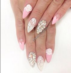 Pink white stilleto nails