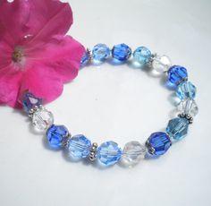 Swarovski Crystal Bracelet Beaded Sapphire Lt by MagdaleneJewels