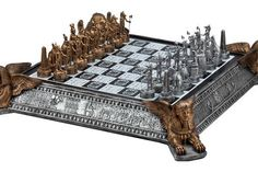 Egyptian Chess Set | Themed Chess Board - Gold silver Egyptian chess set with decorative chessboard, Sphinx on four sides serves as storage for the chess pieces.