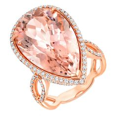 Fabulous Morganite And Diamond Rose Gold Ring | From a unique collection of vintage cocktail rings at https://www.1stdibs.com/jewelry/rings/cocktail-rings/