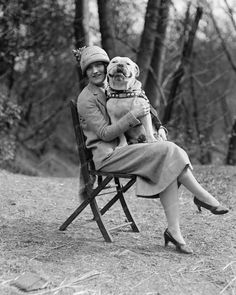 Lady Sitting With Boxer Dog On Lap 8x10 Reprint Of Old Photo