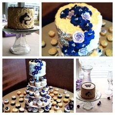 Purple Rose Wedding Cake, Cupcakes, UW, University of Washington, Huskies Wedding, Cupcake Tower,