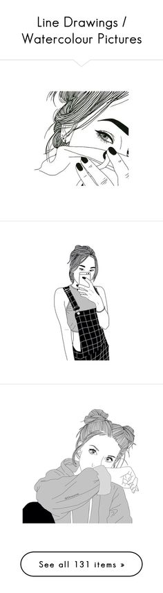 """""""Line Drawings / Watercolour Pictures"""" by smiling-fashionista ❤ liked on Polyvore featuring fillers, drawings, heart jewelry, heart shaped jewelry, art, doodles, outlines, essentials, text and quotes"""