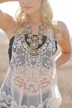love this Tribal Crystal Beaded Bib Necklace