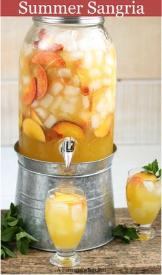 This refreshing and easy to make Summer Sangria with white wine simple syrup brandy peach slices guava juice and lemon-lime soda. White wine sangria is super easy to make with only a few ingredients. Refreshing Drinks, Fun Drinks, Picnic Drinks, Picnic Foods, Picnic Recipes, Picnic Ideas, White Wine Sangria, White Sangria Punch, Alcohol Drink Recipes