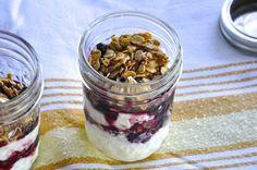 Two Blue Lemons: Yogurt-Granola Jars with Cherry Sauce